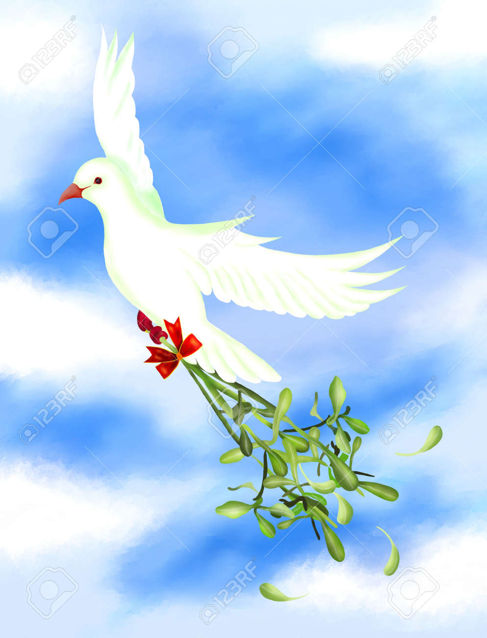 White Pigeons Flying In The Sky And Carrying A Mistletoe Bunch