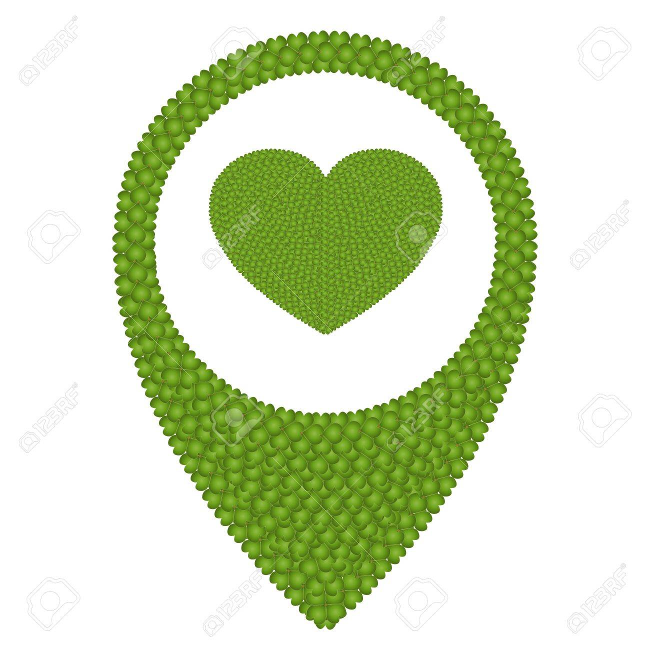 Ecology Concept, Fresh Green Four Leaf Clover Forming Heart Shape Symbol in Navication Icon Isolated on White Background Stock Photo - 17155735