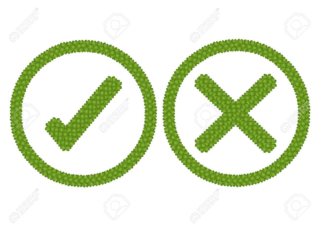 Ecology and Love Concept, Fresh Green Four Leaf Clover Forming Check Mark Symbol and Cross Sign in Round Frame Isolated on White Background Stock Photo - 17155673