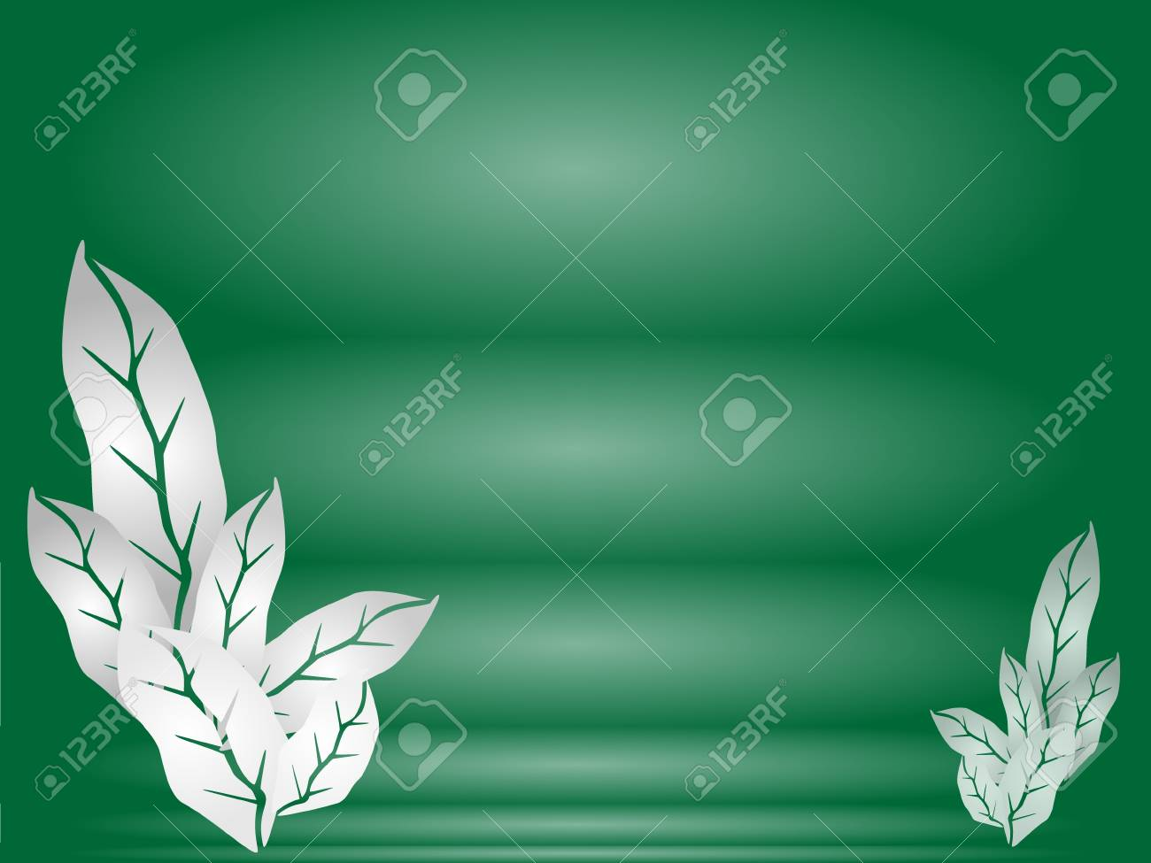 Fresh Leaves Template of Green Color Background with Copy Space for Text Decorated Stock Vector - 17283470