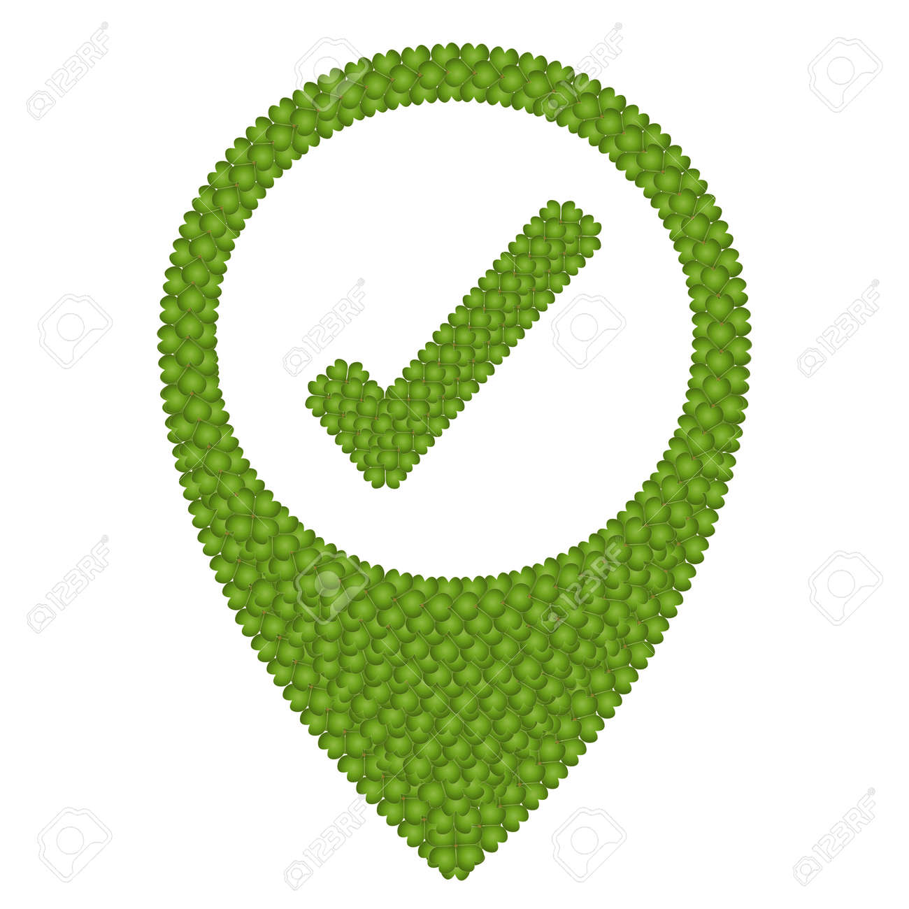 Ecology Concept, Fresh Green Four Leaf Clover Forming Map Pin Icon or Straight Pin and Check Mark Icon, Isolated on White Background Stock Photo - 17287376
