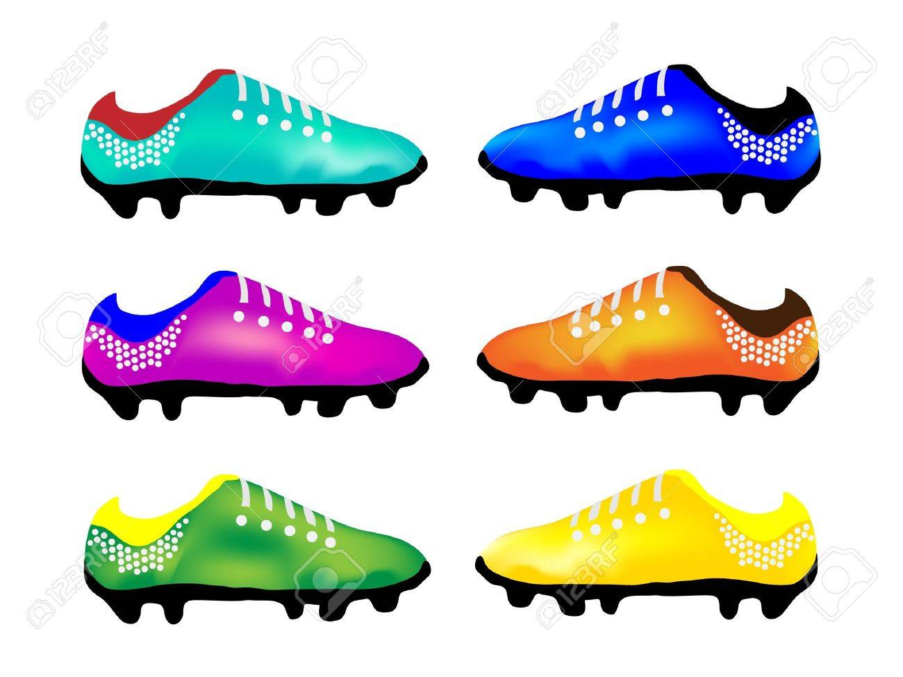Light Blue, Purple, Green, Blue, Orange and Yellow Color of Studded Shoes or Soccer Shoes Stock Vector - 17288177
