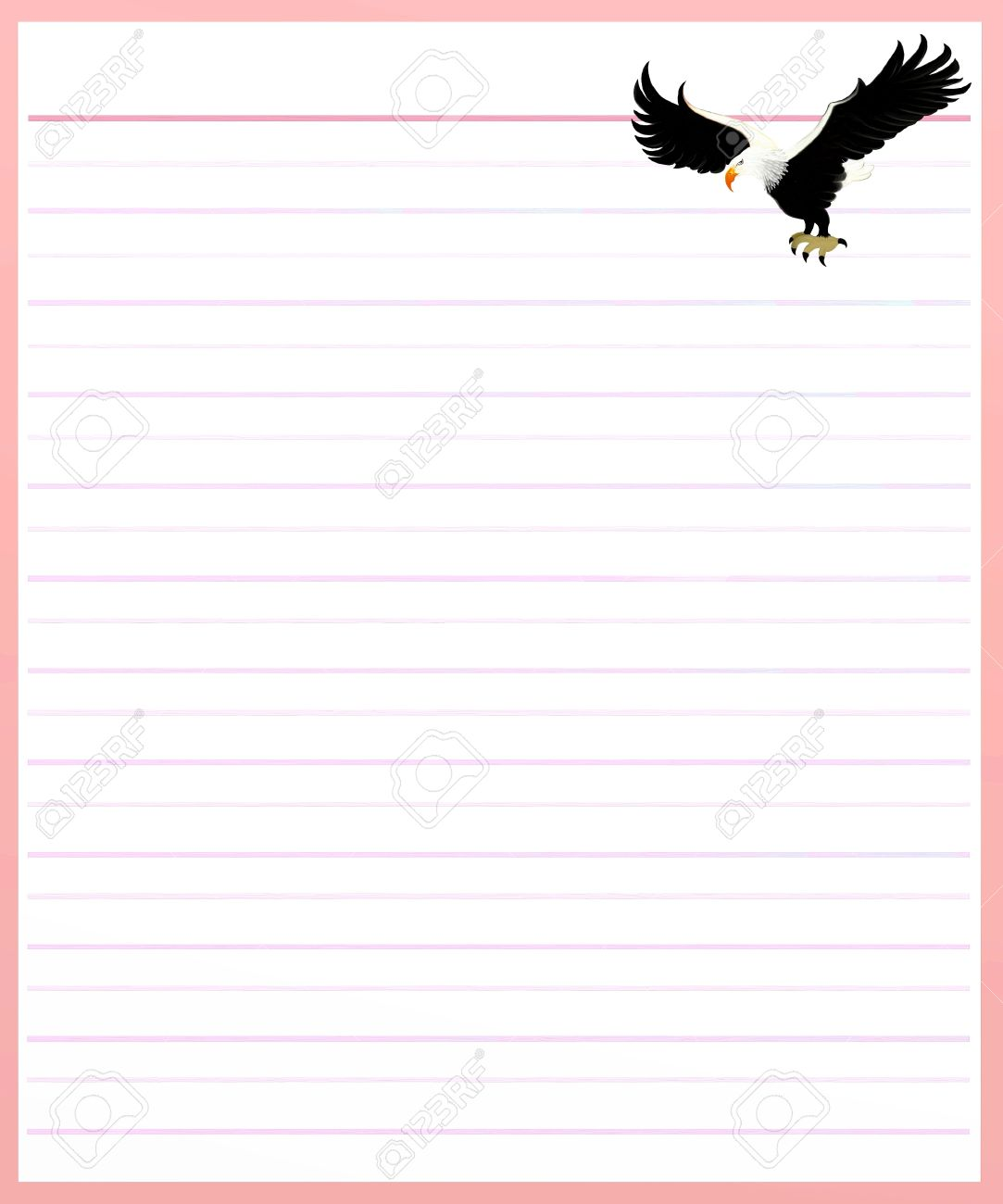 Hand Drawing Of Two Beautiful Eagle On A Blank Pink Lined Paper Background  With Copy Space  Lined Blank Paper