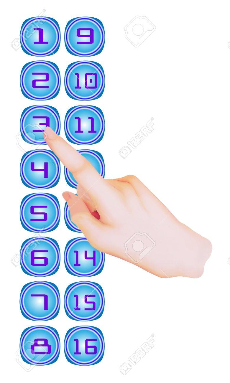 Person in Elevator or Lift is Pressing A Button on An Elevator Control Panel in The Building Stock Photo - 17417517