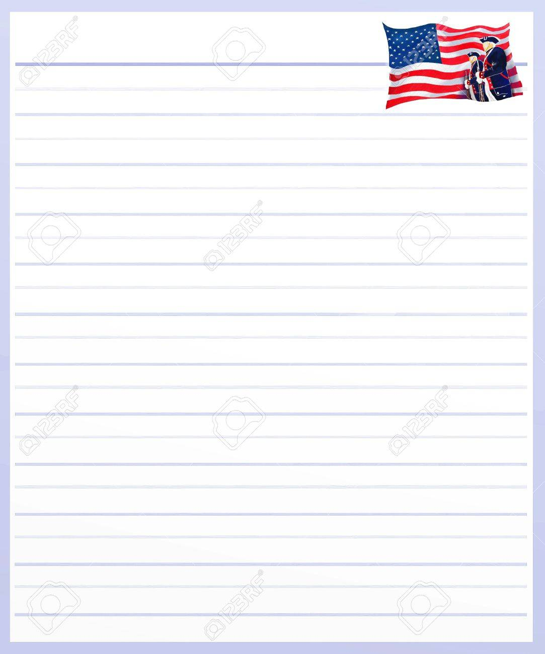 Hand Drawing of Independence Day Flag on A Blank Purple Lined Paper Background with Copy Space for Text Decorated Stock Photo - 17417531