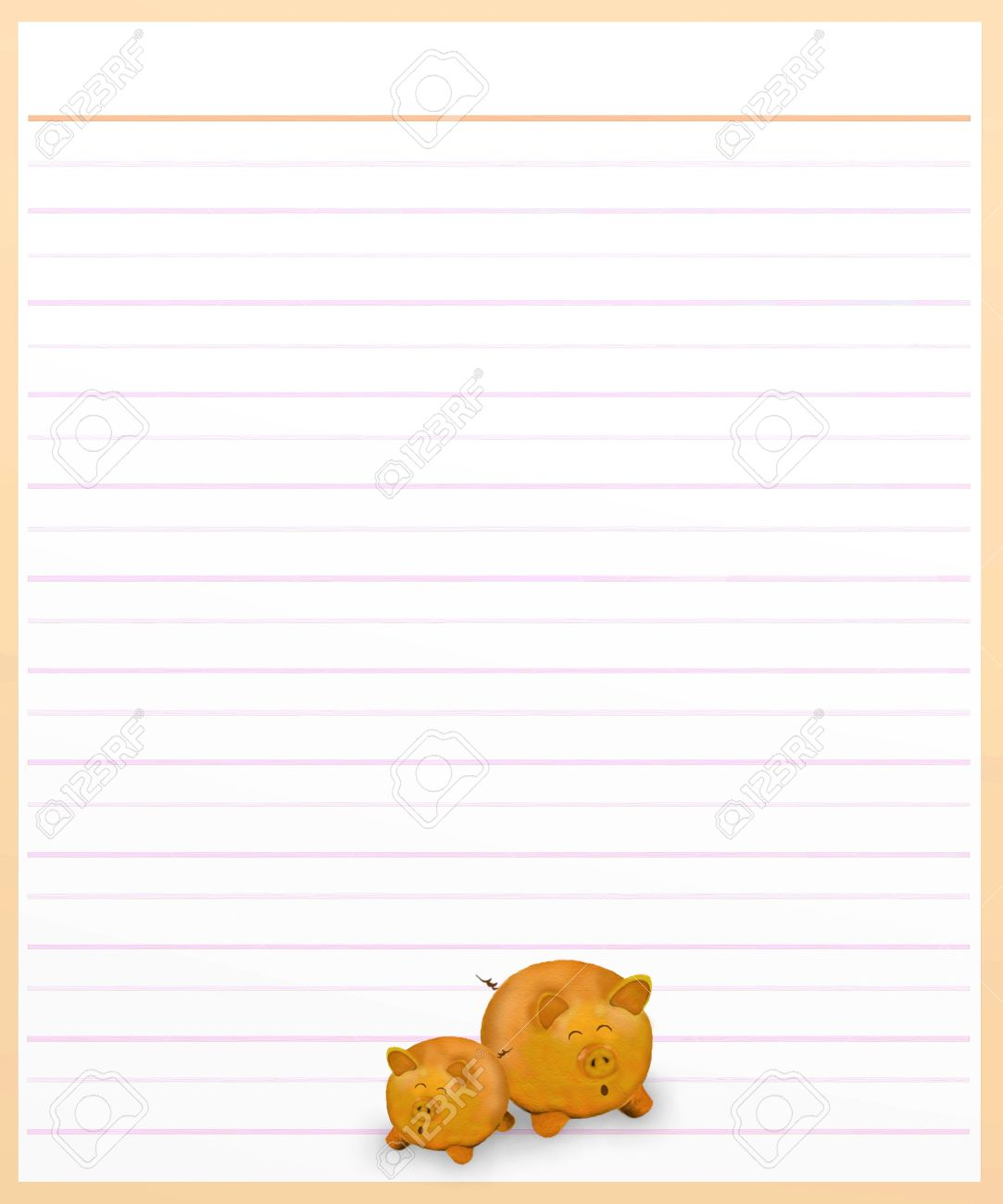 Hand Drawing of Two Lovely Pig on A Blank Brown Lined Paper Background with Copy Space for Text Decorated Stock Photo - 17417526