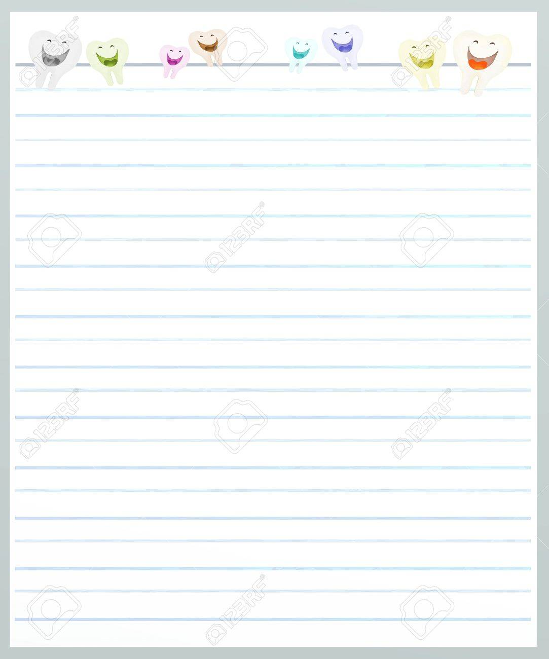 Hand Drawing Of Tooth Cartoon On A Blank Grey Lined Paper Background With  Copy Space For