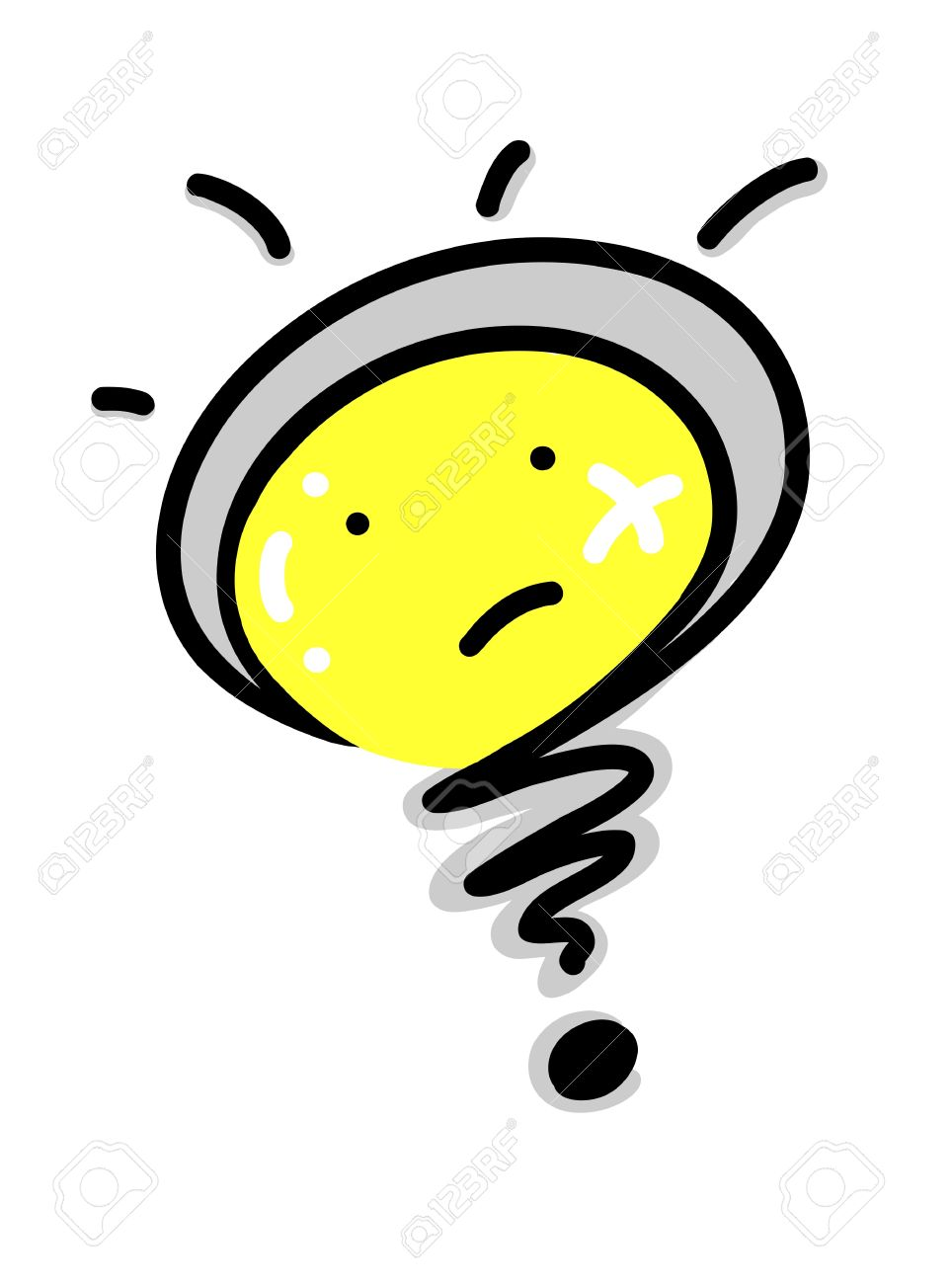 Spiration Concept and Hot Idea, A Funny Cartoon of Glowing Yellow Electric Light Lulb Inside A Question Symbol Stock Vector - 17417566