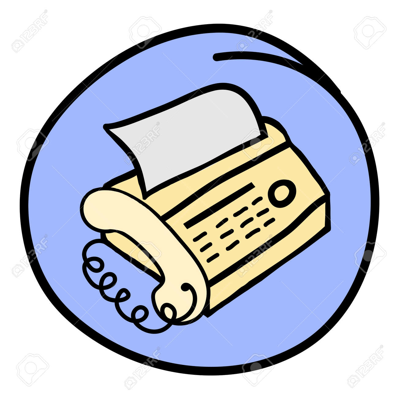 Office Supply, A Cartoon Illustration Of Fax Machine With A ...
