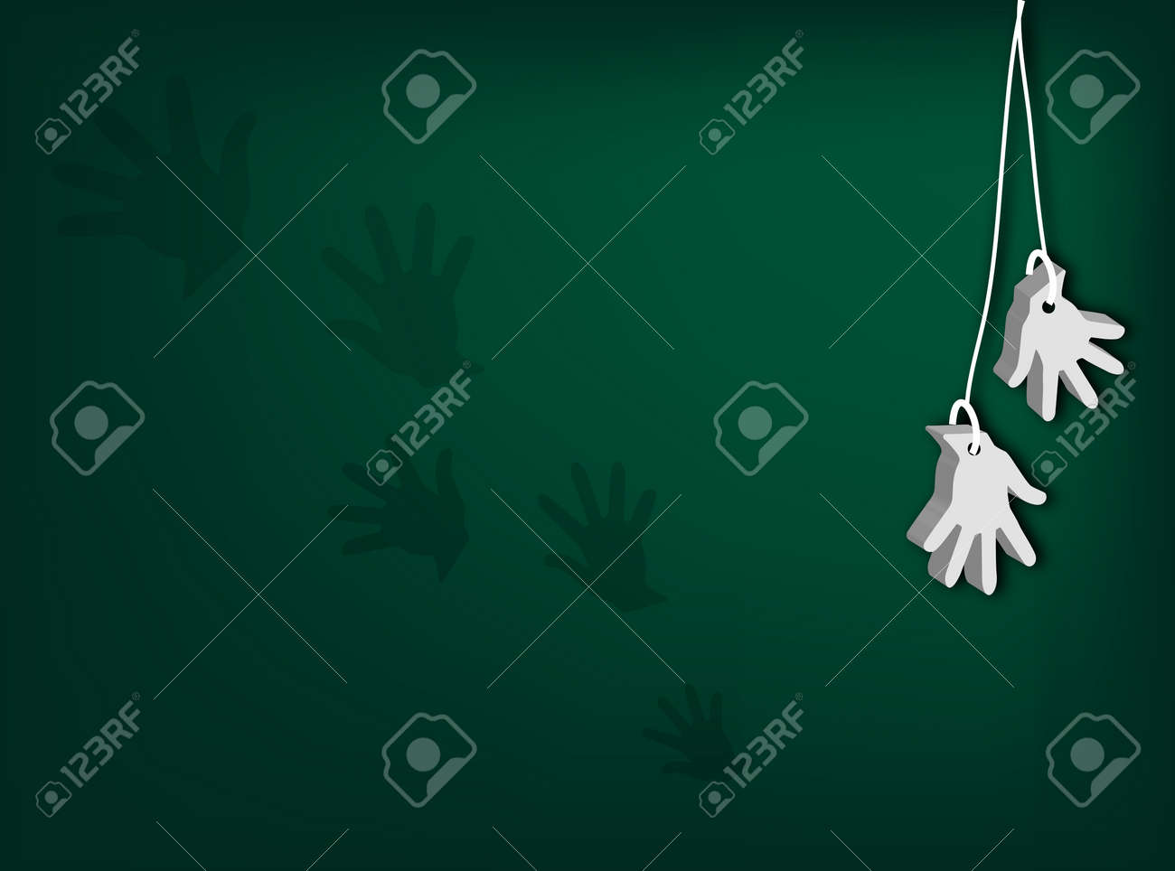 An Illustration of White Artificial Open Hand for Surrender Hand Signal or Retirement Hanging from Cord on Dark Green Background Stock Vector - 17544215