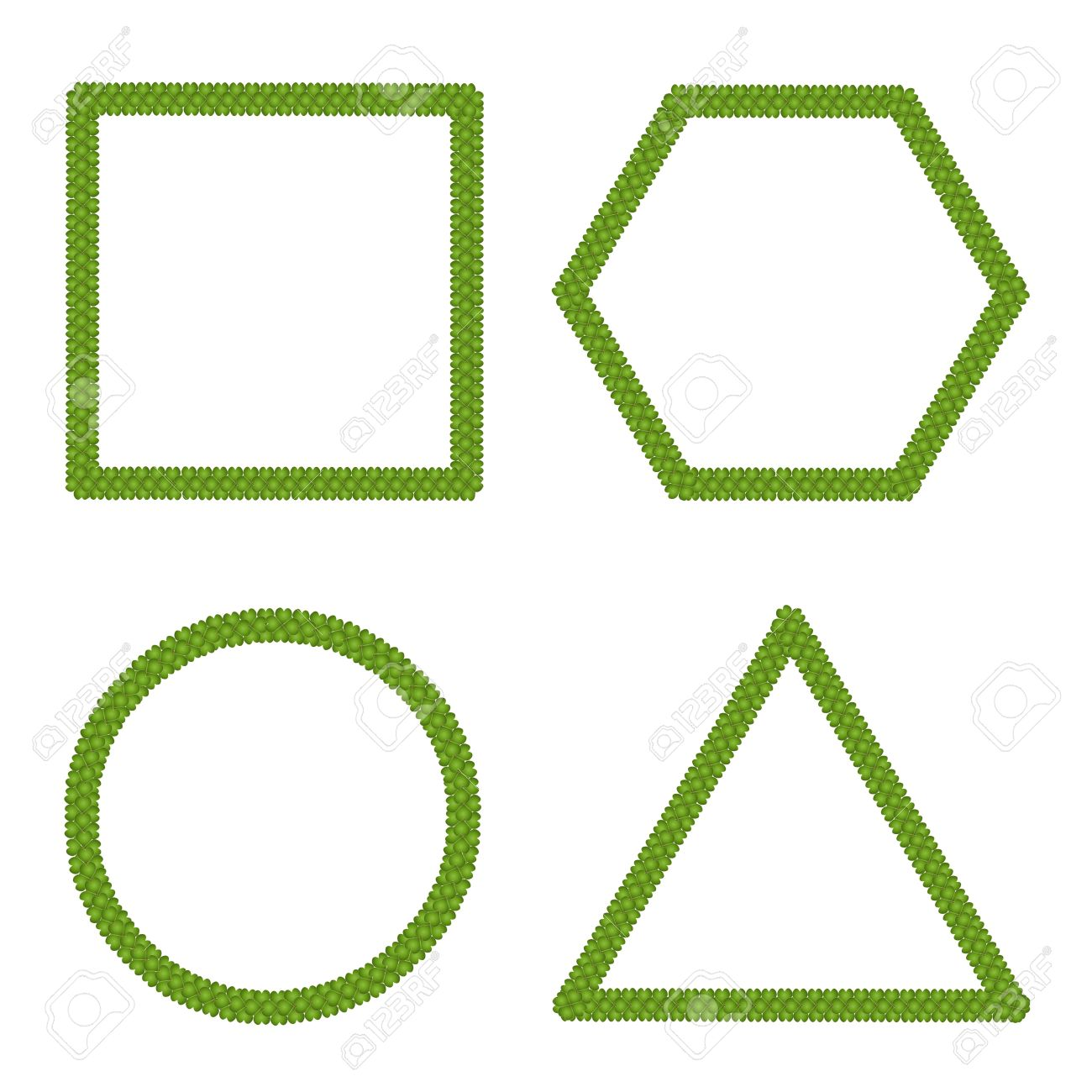 Ecology Concept of Fresh Green Four Leaf Clover Forming Square, Circle, Triangle and Hexagon Isolated on White Background Stock Photo - 17725965