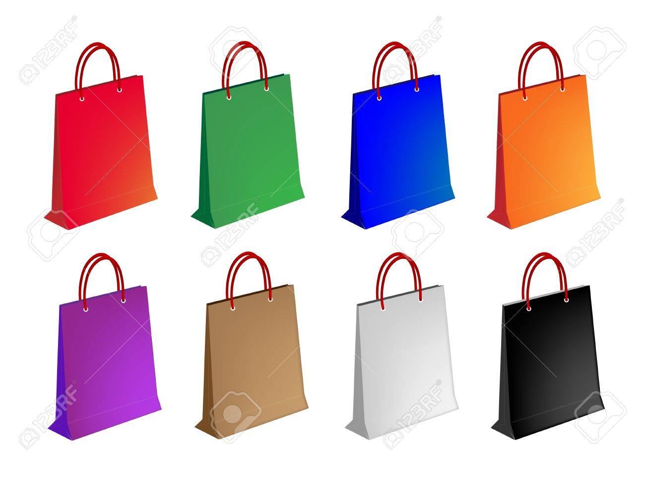 453db0523d8 Foto de archivo - Una colección de ilustraciones de Colorsful Bolsa de  compras de papel o bolsas de regalo en ocho colores surtidos