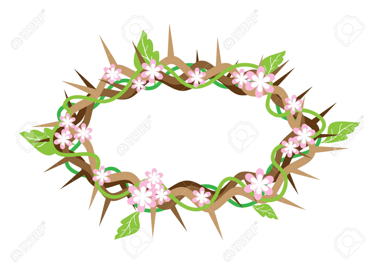 an illustration of crown of thorns with fresh green leaves and rh 123rf com