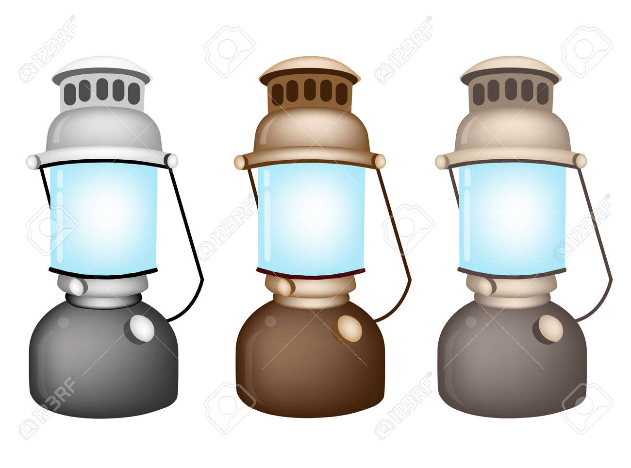 An Illustration Collection of Grey, Brown And Light Brown Vintage Kerosene Lantern on White Background Stock Vector - 17849873