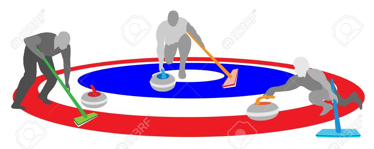 Winter Sport Athletes Playing Curling Sport By Curling Rocks ...