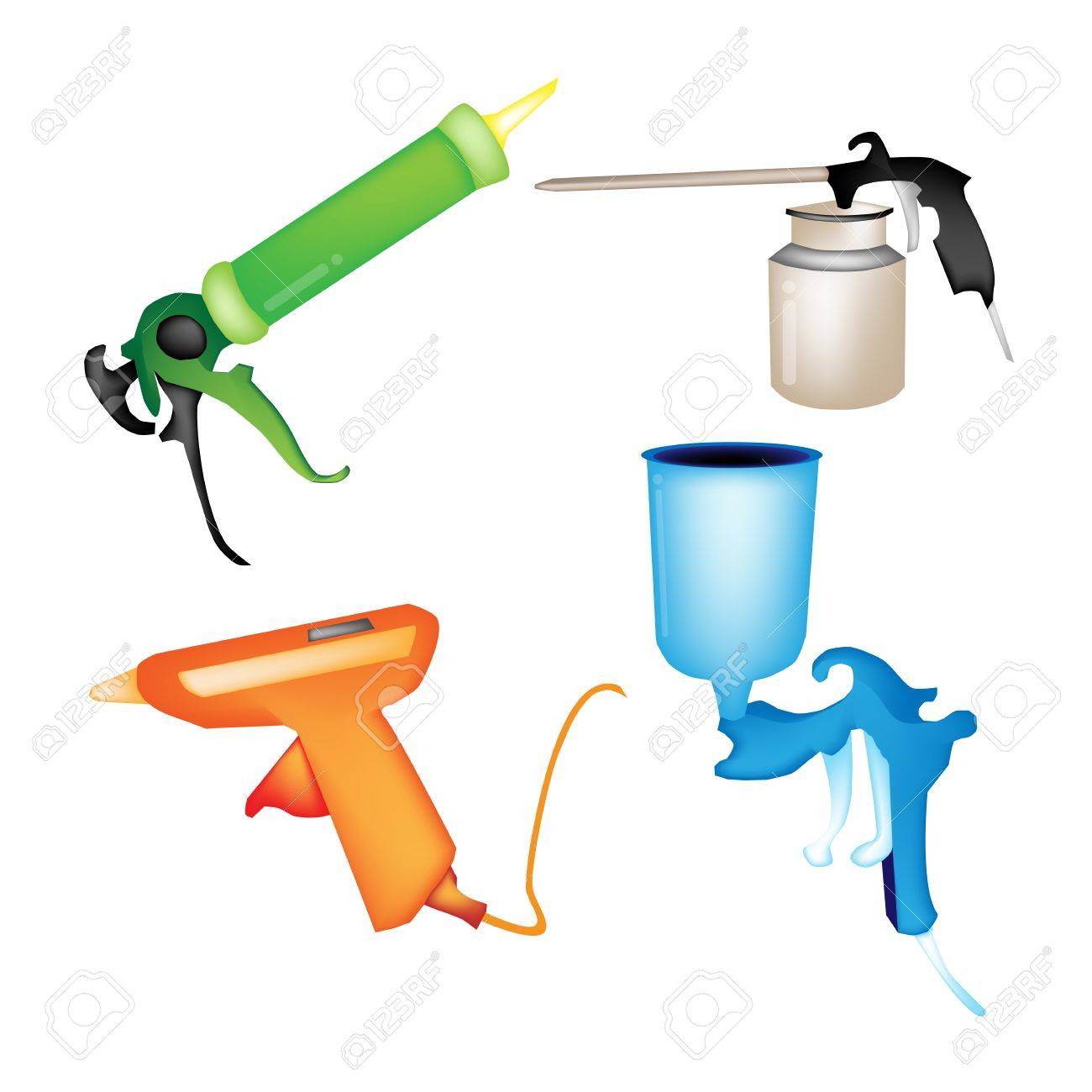 Illustration Collection of Hot Glue Gun, Caulking Gun, Airbrush Painting and Oil Can Isolated on White Background - 17935083