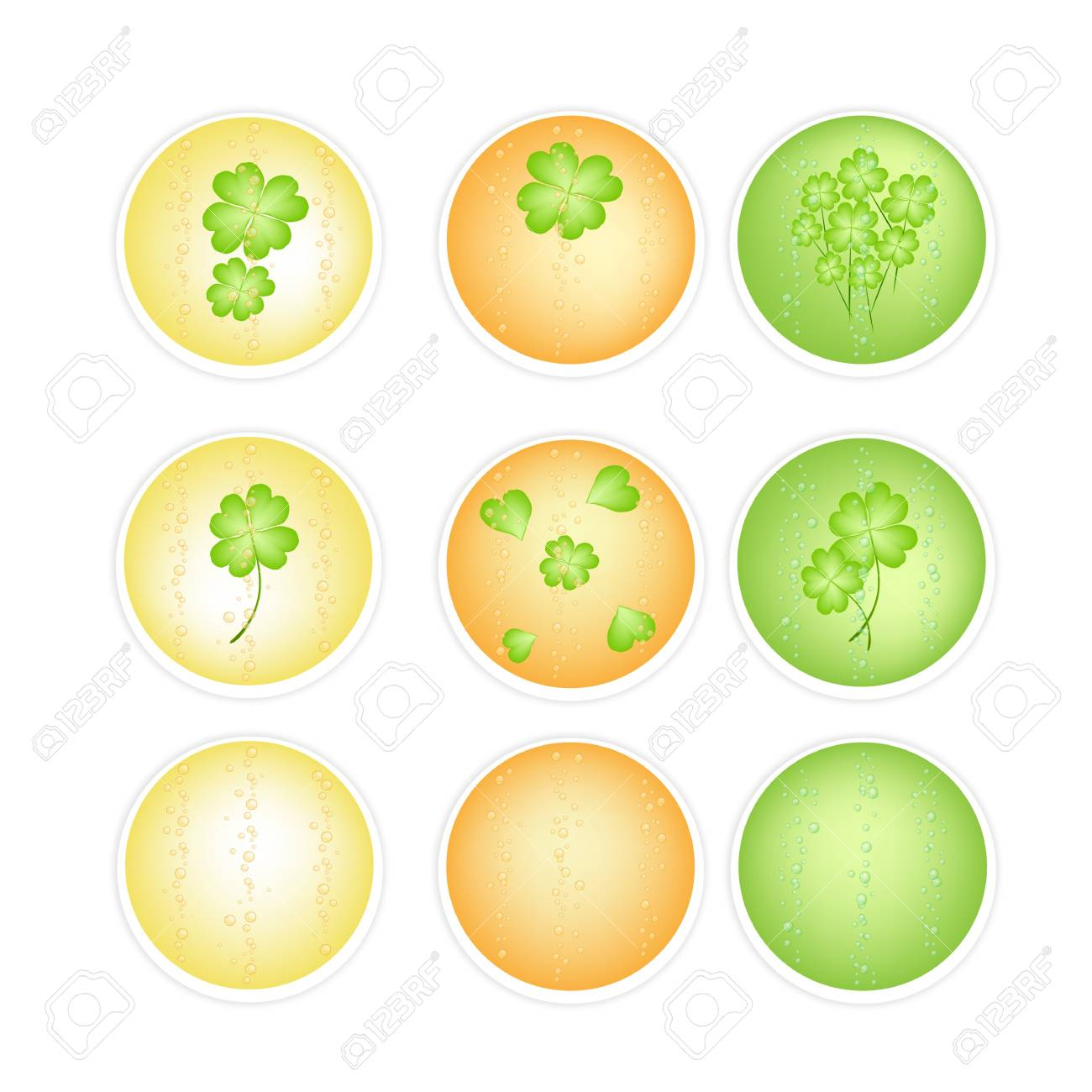 Symbols for Fortune and Luck, An Illustration Colllection of Four Leaf Clovers or Shamrocks on Round Label for St  Patricks Day Celebration Stock Vector - 18230696