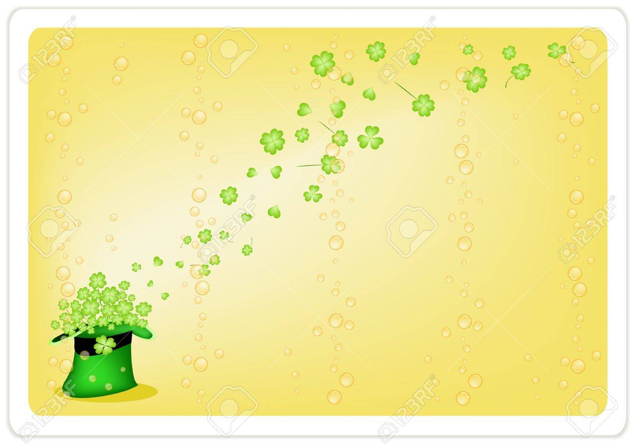 Symbols for Fortune and Luck, A Yellow Background of Fresh Green Four Leaf Clover Plants or Shamrock in Saint Patrick Stock Vector - 18252061