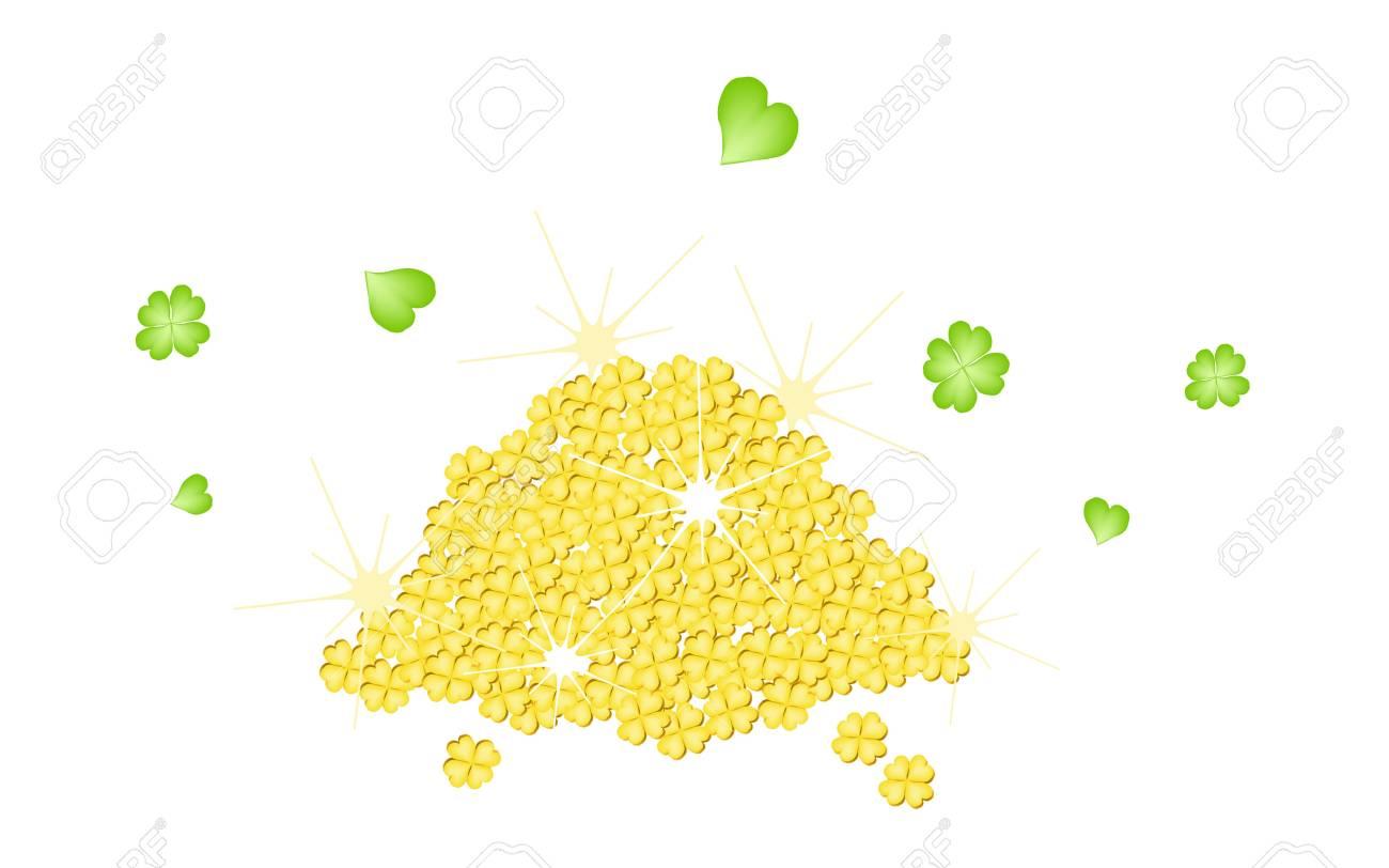 Symbols for Fortune and Luck, An Illustration A Stack of Golden Four Leaf Clovers or Shamrocks for St  Patricks Day Celebration Stock Photo - 18230694