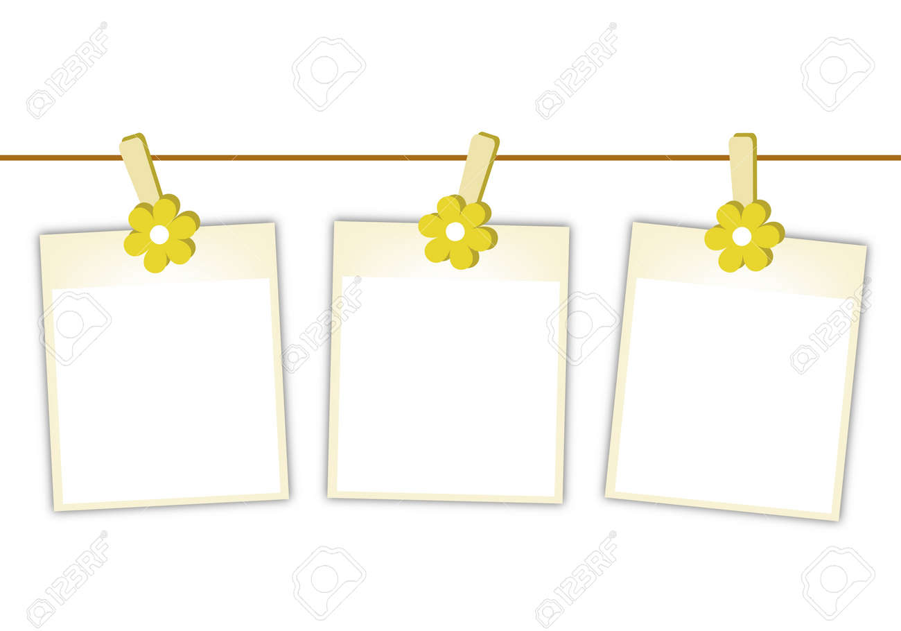 illustration of three blank instant photo prints or polaroid frames hanging on yellow cosmos flower clothespins