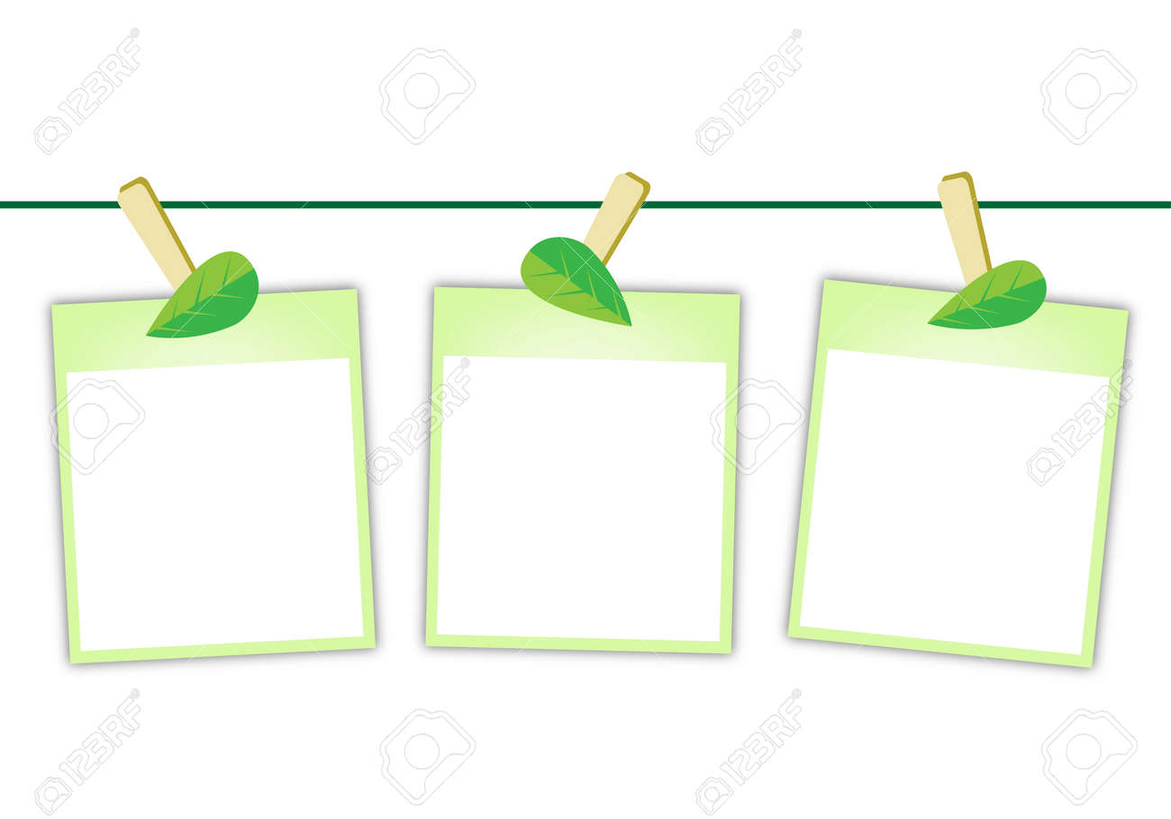 Illustration of Three Blank Instant Photo Prints or Polaroid Frames Hanging on Lovely Green Leaf Clothespins, Isolated on A White Background - 18346977