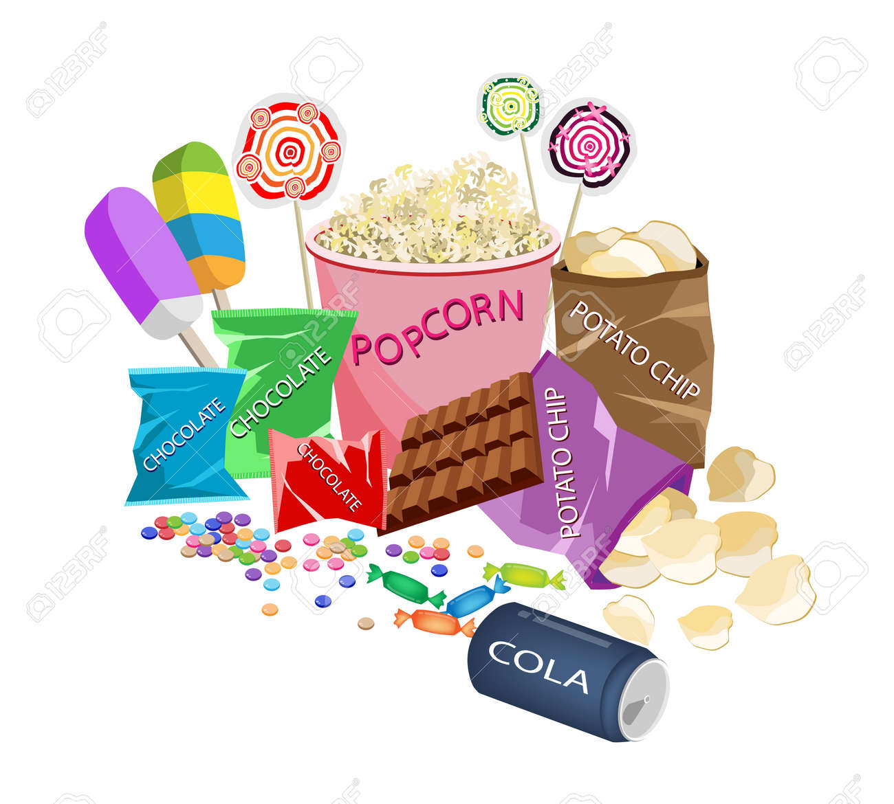 Movie Food An Illustration Of Popcorn Popsicles Lollipops Royalty Free Cliparts Vectors And Stock Illustration Image 18432971