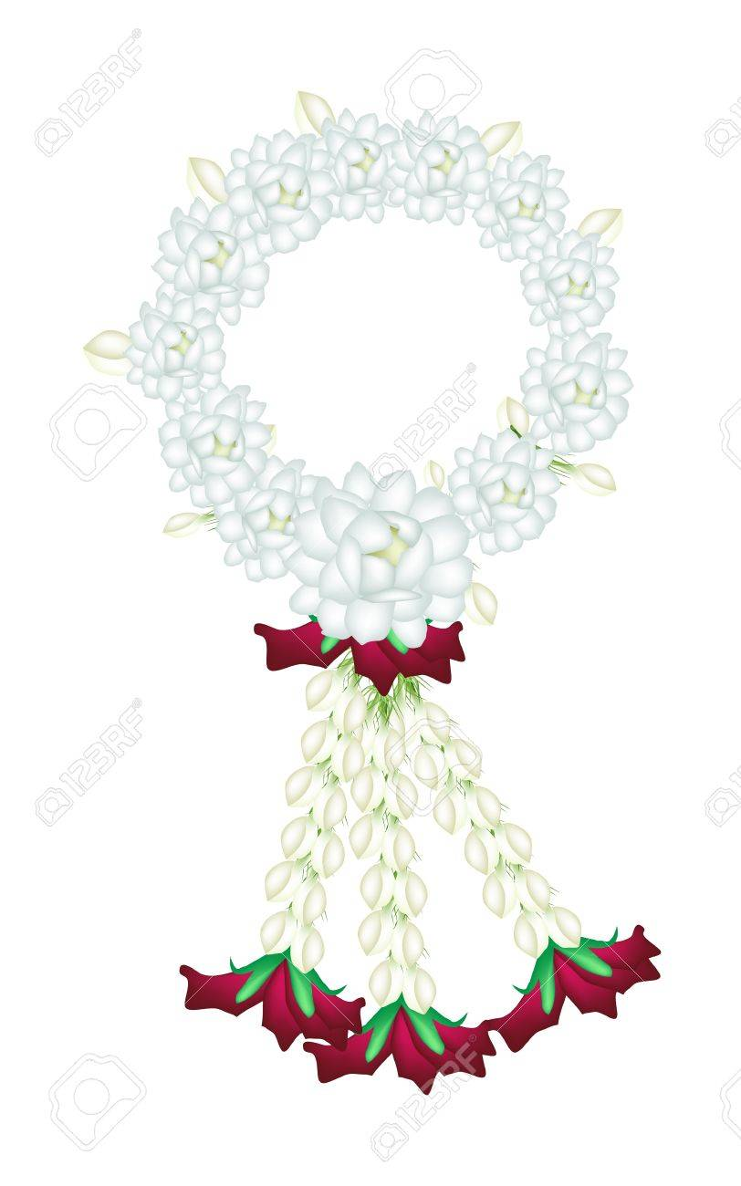 A symbol of love and luxury an illustration of beautiful flower a symbol of love and luxury an illustration of beautiful flower garland with white jasmine biocorpaavc Images