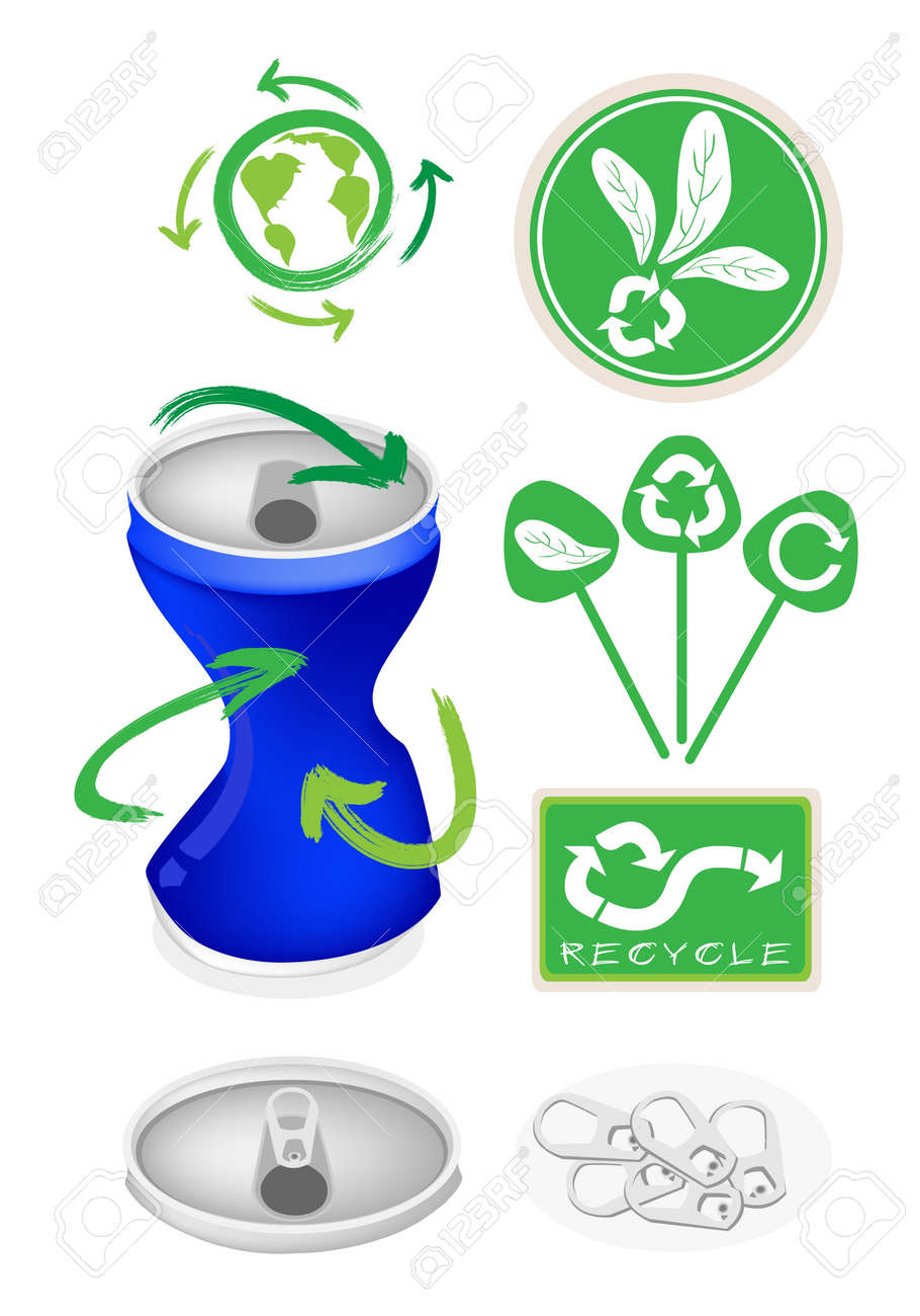 An Illustration Collection of Open Blue Can with A Recycle Sign for Recycle Concept Or Save The Earth Concept Stock Vector - 18627263