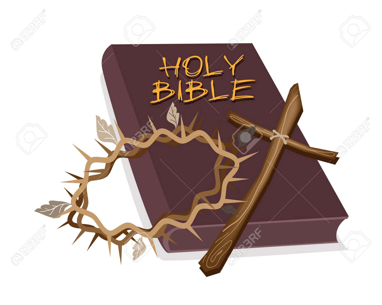 An Illustration of Brown Covered Bible with Wooden Cross and A Crown of Thorn, The Foundation of Christianity Stock Vector - 18627268
