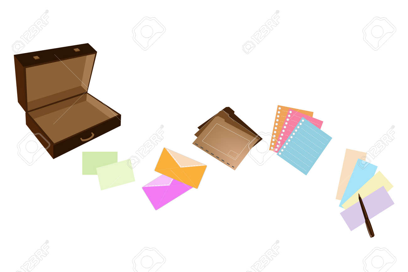 An Illustration of Open Dark Brown Briefcase with Office Supply, Note Paper, Spiral Paper, Envelope, File Folder and Pen fro Business Person Stock Vector - 18787697