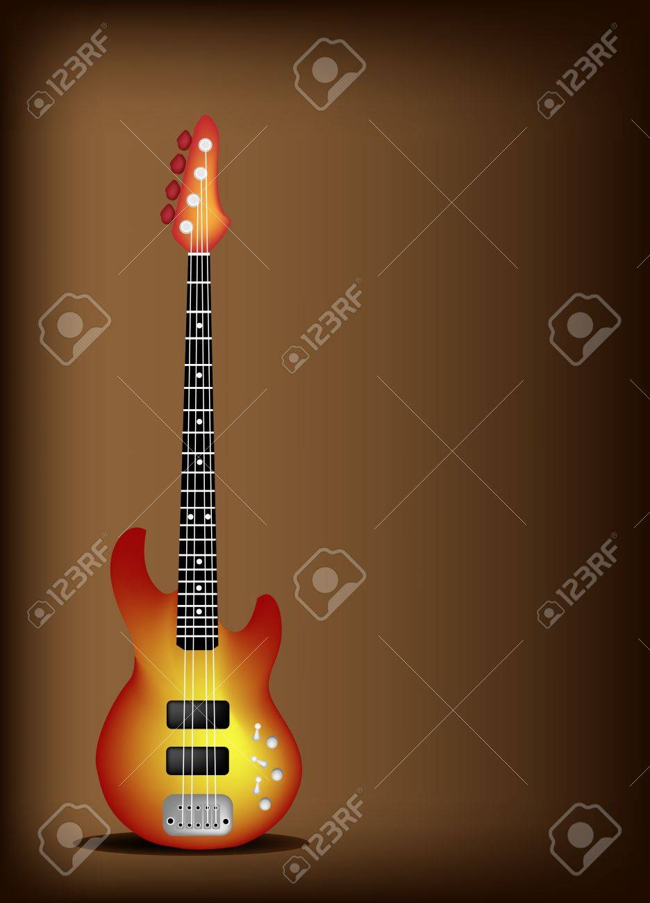 Instrumento De Música Una Ilustración De La Guitarra Eléctrica Roja De Brown Vintage Hermoso Fondo Oscuro Con Copia Espacio Para El Texto Decorado