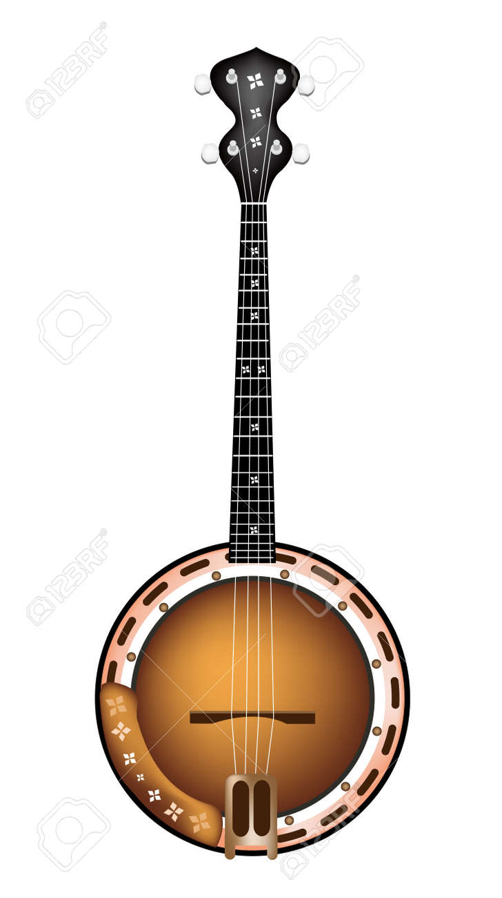 Music Instrument, An Illustration of A Single Five String Banjo on White Background - 19342223