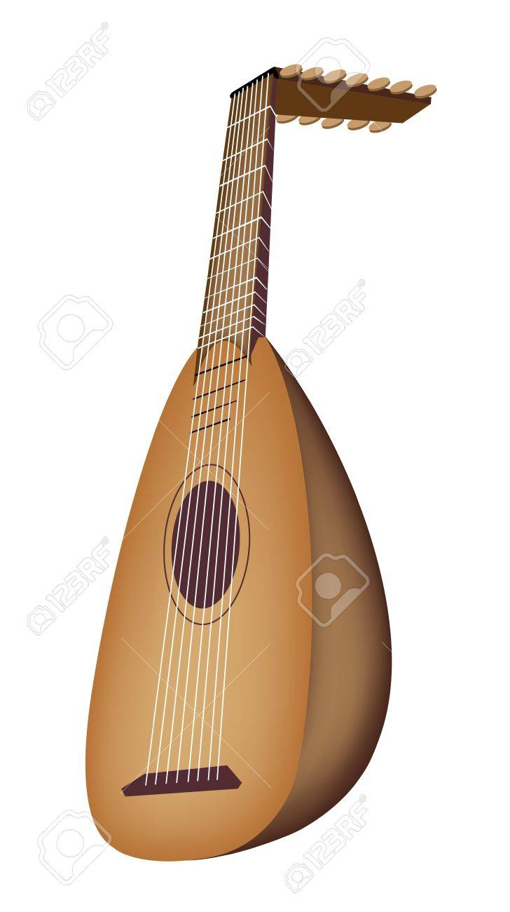 Music Instrument, An Illustration of A Beautiful Antique Bluegrass Mandolin on White Background - 19342217