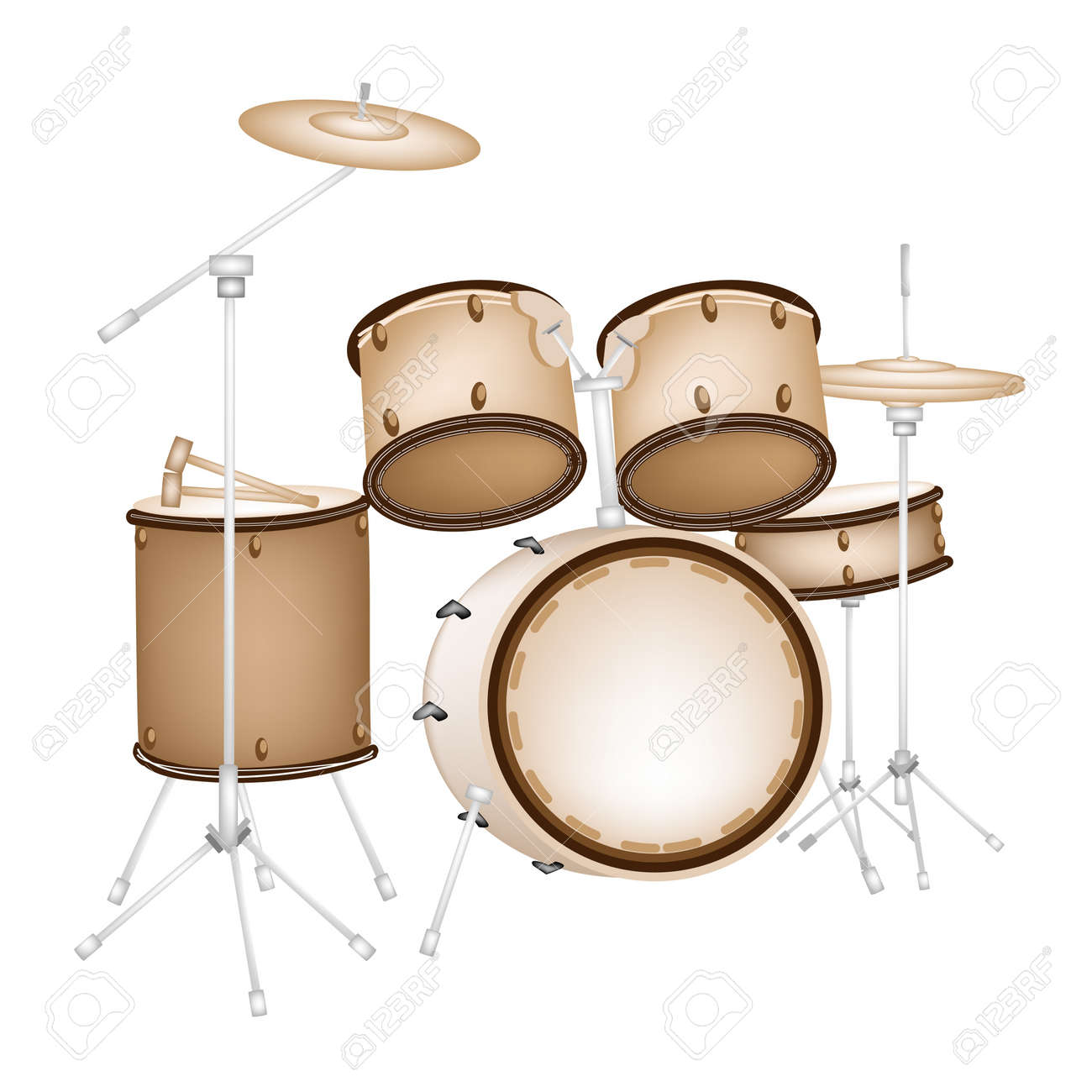 Music Instrument An Illustration Of A Set Retro Style Jazz Drum Kit On White