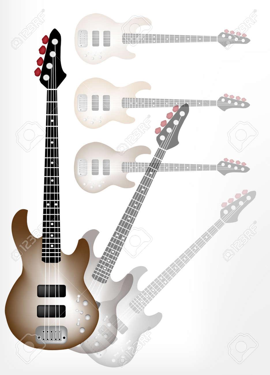 Instrumento De Música Una Ilustración De Brown Guitarra Eléctrica En Shadow Guitarra Hermoso Fondo Con Copia Espacio Para El Texto Decorado