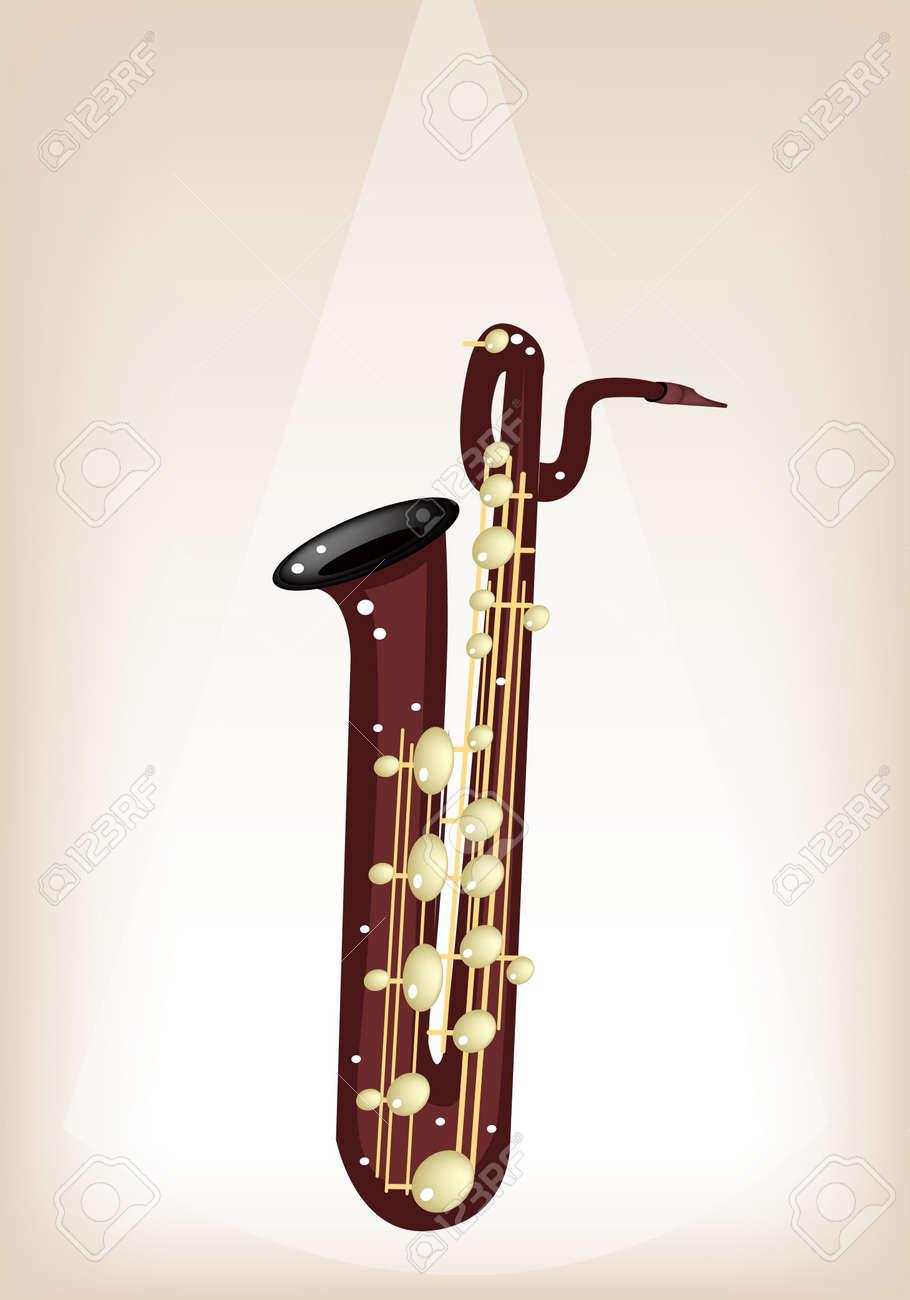 楽器イラスト飾られたテキストのコピー スペースと茶色のステージ背景