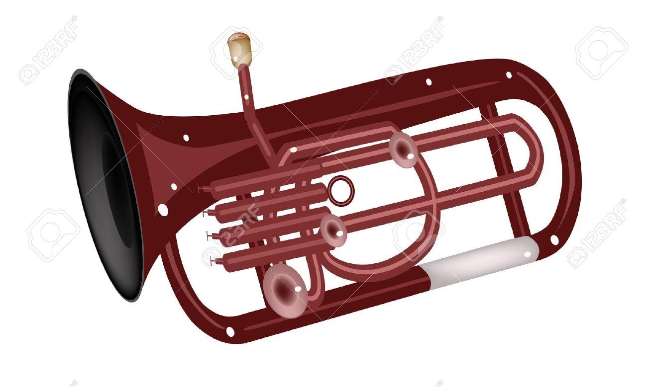 music instrument an illustration brown color of vintage antique