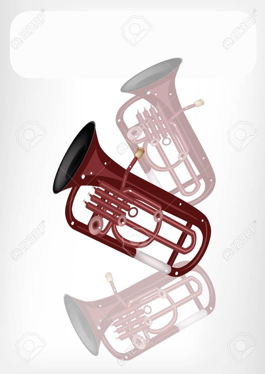 音楽楽器コピー領域とテキスト ビンテージ アンティーク真鍮 Tuba