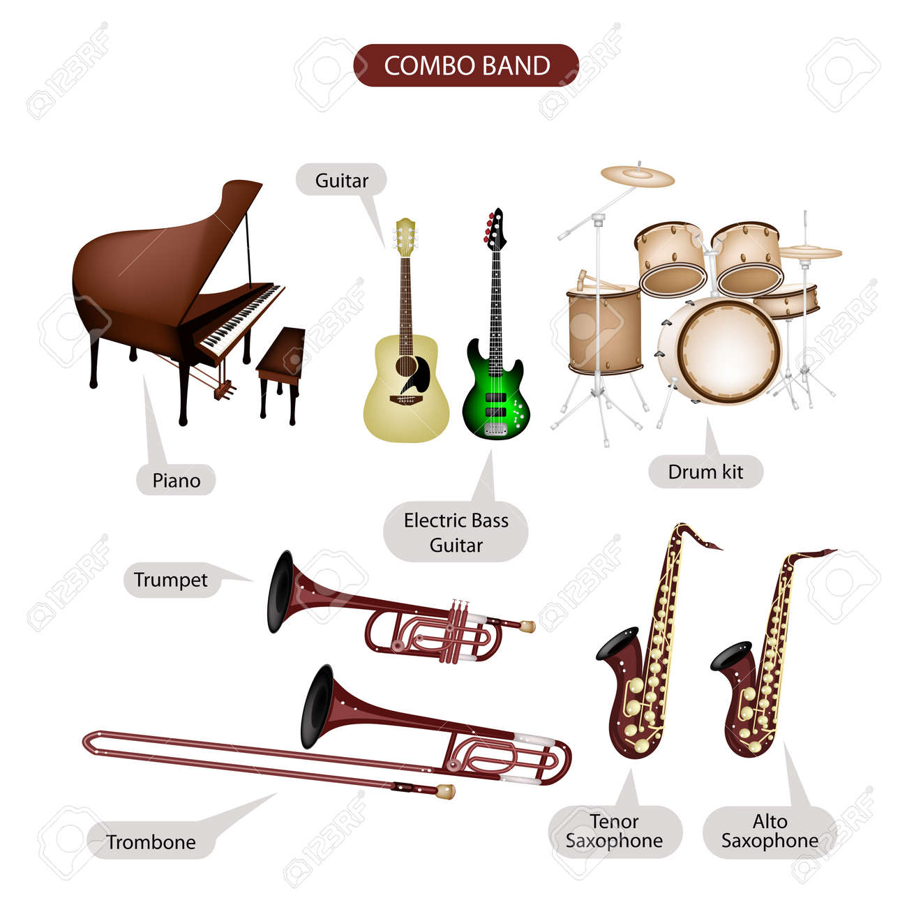 Préférence Illustration Brown Color Collection D'instruments De Musique Combo  NQ81