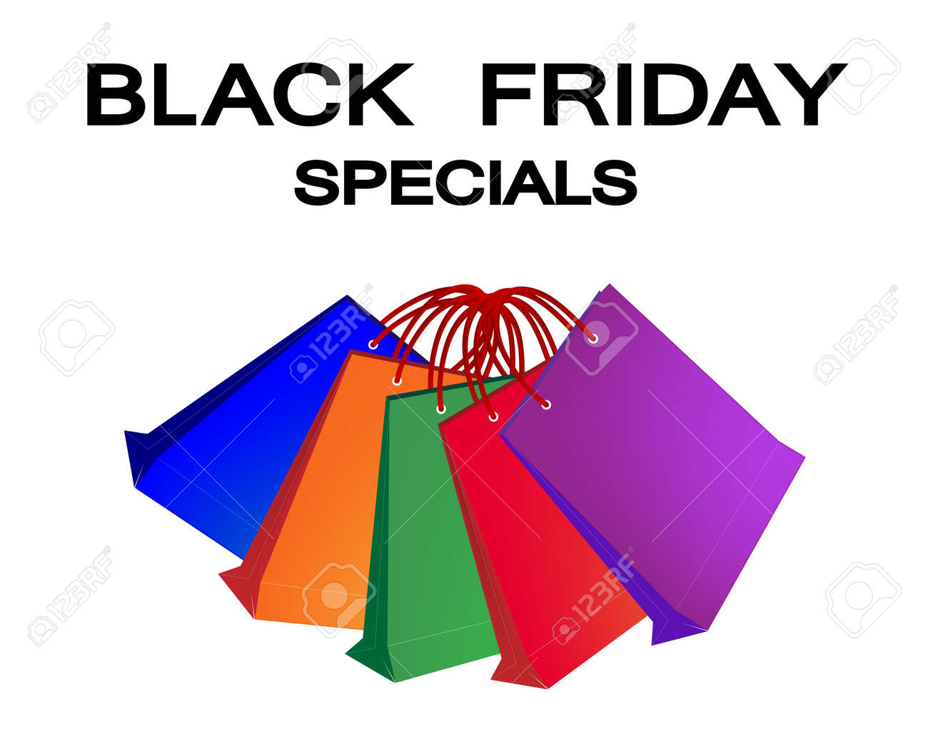 Black Friday Special Label with Paper Shopping Bags, Sign for Start Christmas Shopping Season Stock Vector - 21145354