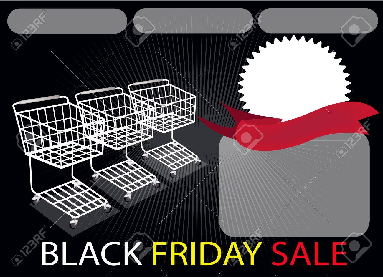 Three Shopping Carts and A Round Label on Black Friday Background with Copy Space and Text Decorated, Sign for Start Christmas Shopping Season Stock Vector - 21269030