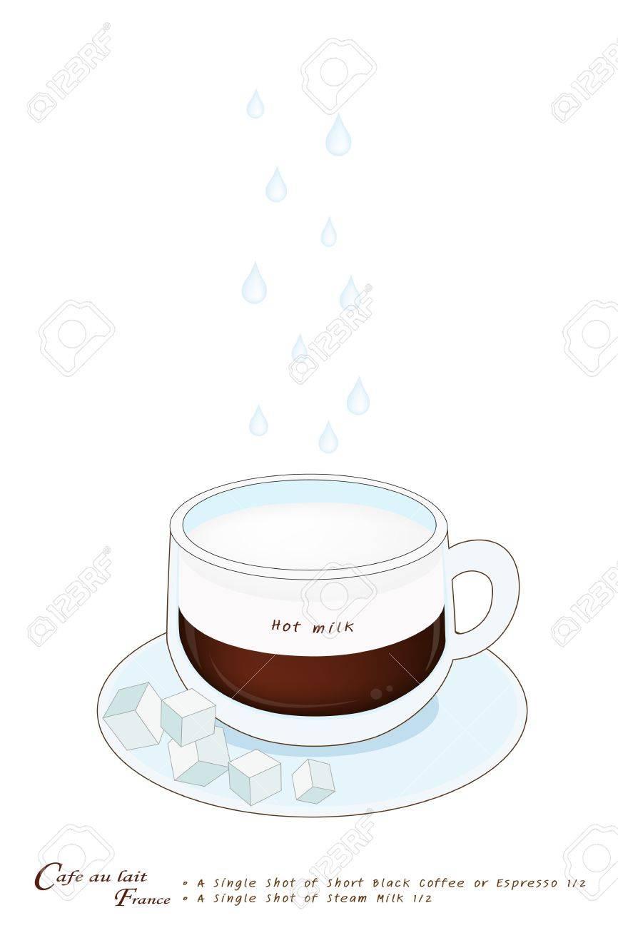 カフェオレまたはフランス押されたガラスのカップにコーヒーに分離され