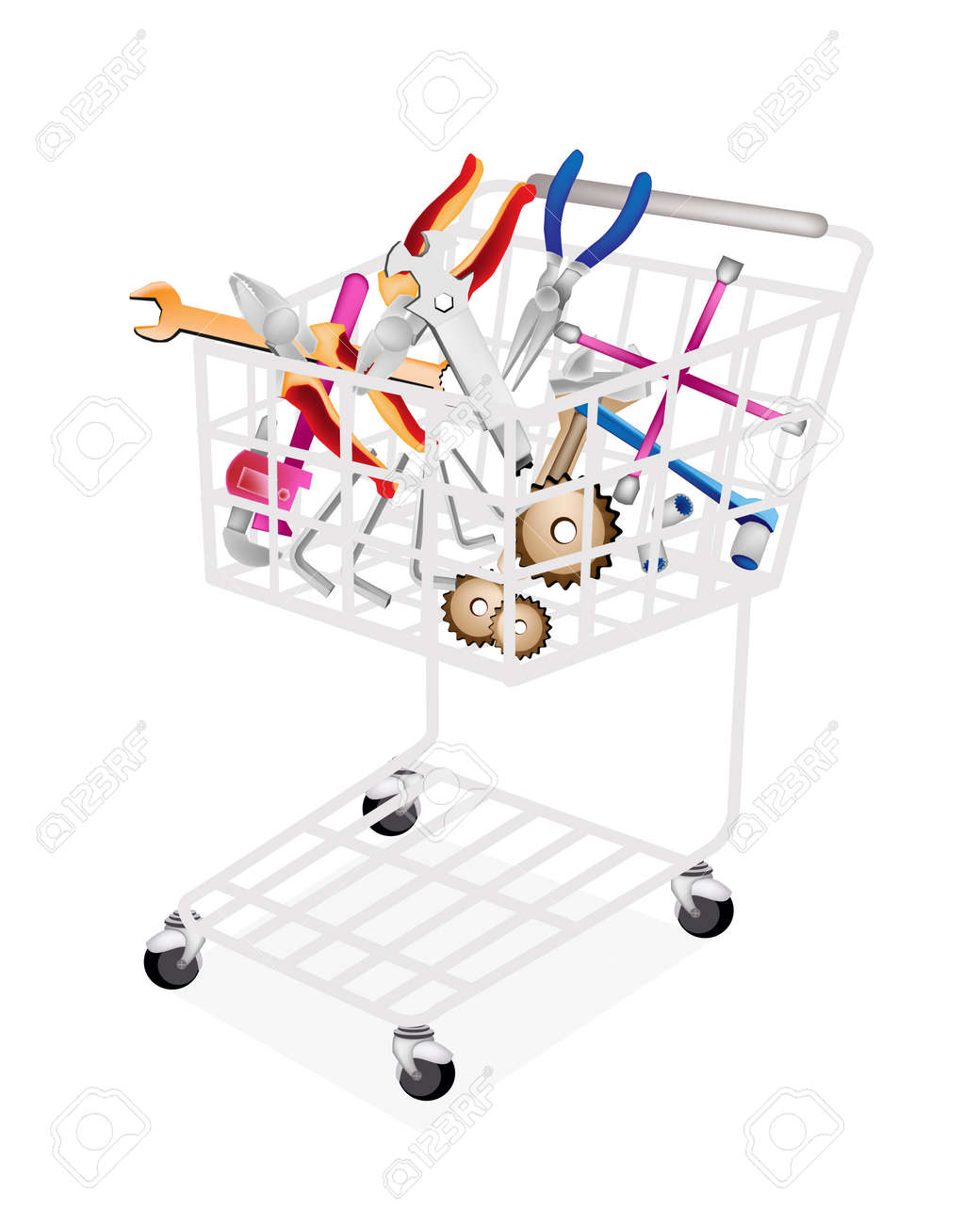 A Shopping Cart Full with Various Type of Auto Service and Repair Tool Kits, Spanner, Gears, Pipe Wrench, Hex Keys, Socket Wrench and Lug Wrench Isolated on White Backgrounds Stock Vector - 22773615
