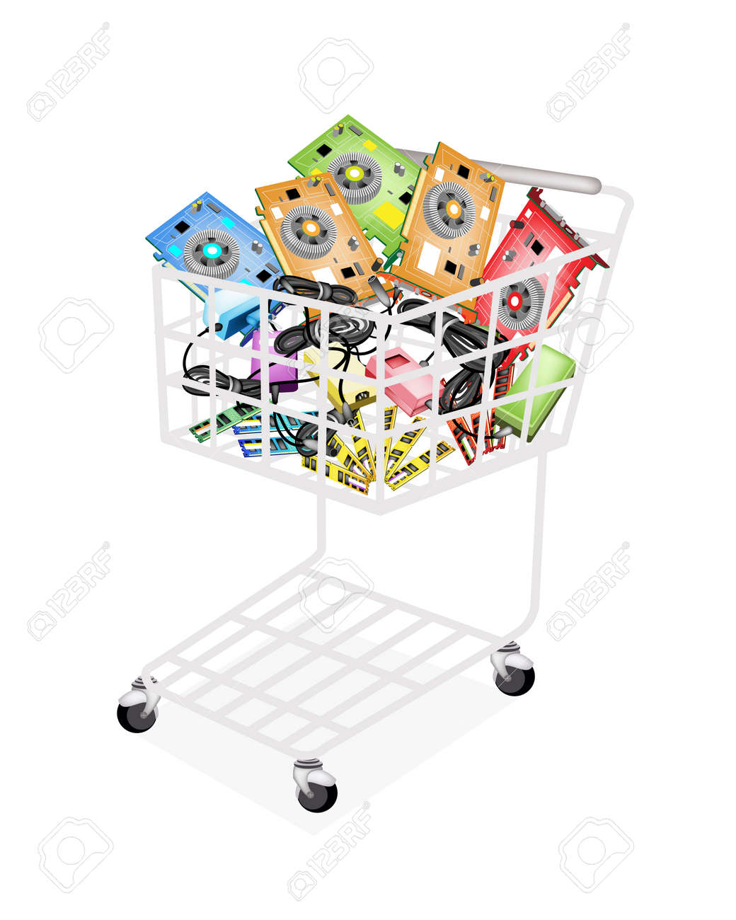A Shopping Cart Full with RAM, Computer Graphic Card or Video