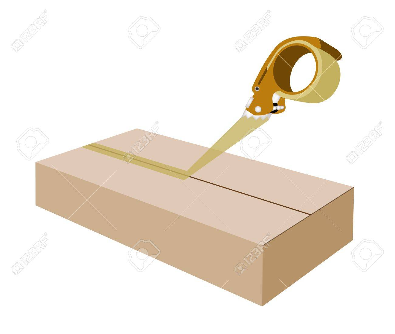 Orange Packing Tape Dispenser or Adhesive Tape Dispenser Closing A Brown Cardboard Box Isolated on White Background. Stock Vector - 23565468