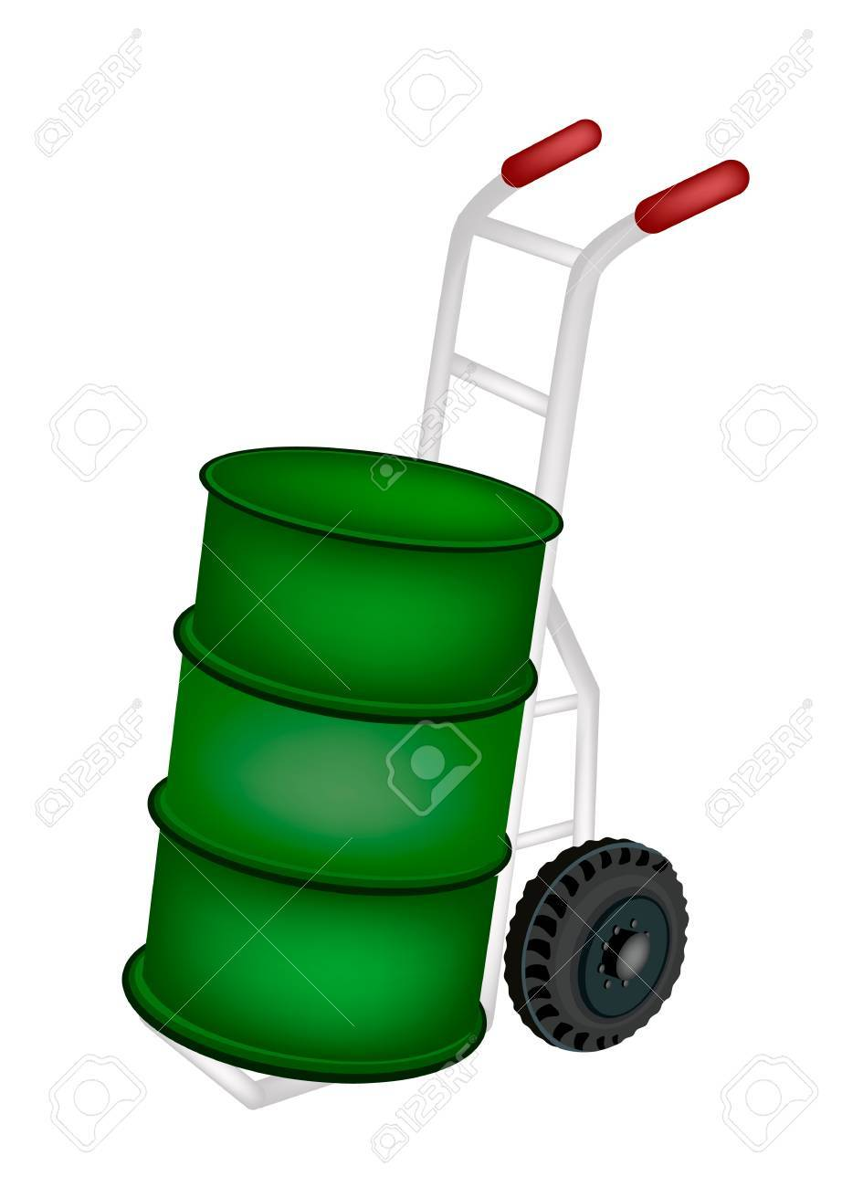 Hand Truck or Dolly Loading A Green Color of Oil Drum or Oil Barrel Isolated on White Background. Stock Vector - 23565482