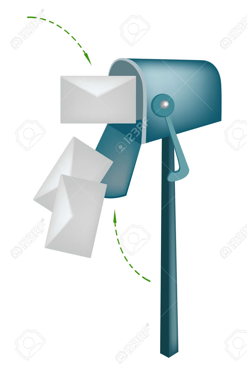An Open Standard Mailbox Or Letter Box With Envelopes, Mailbox ...
