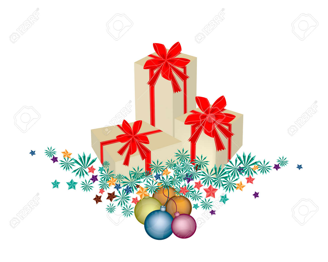 Three Gift Boxes Decorated On Christmas Tree Branches And Christmas ...