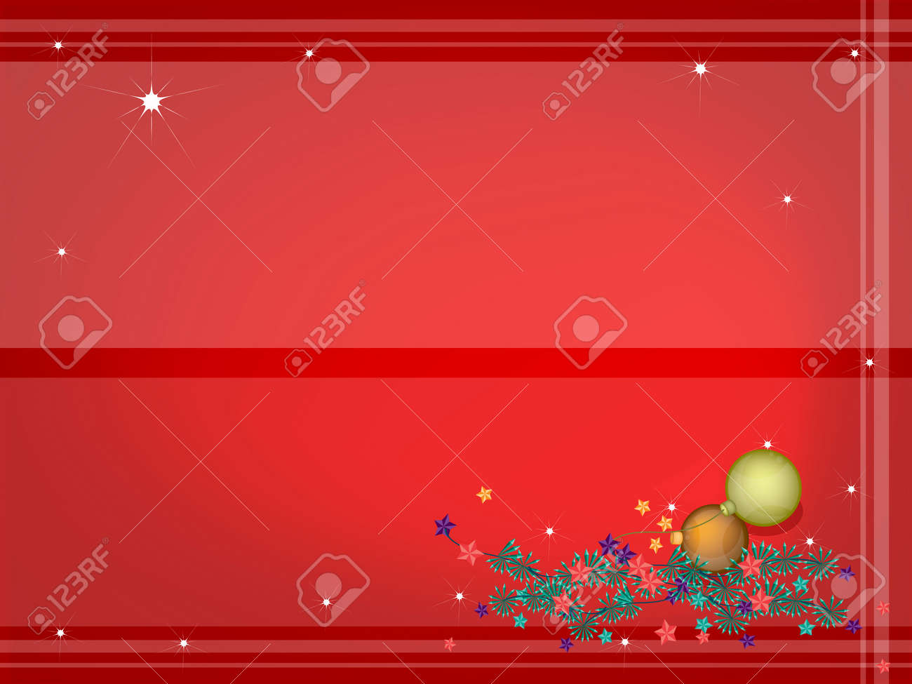 Red Abstract Background of Lovely Christmas Balls or Christmas Ornaments Decorated on Christmas Tree Branches Stock Vector - 24219501