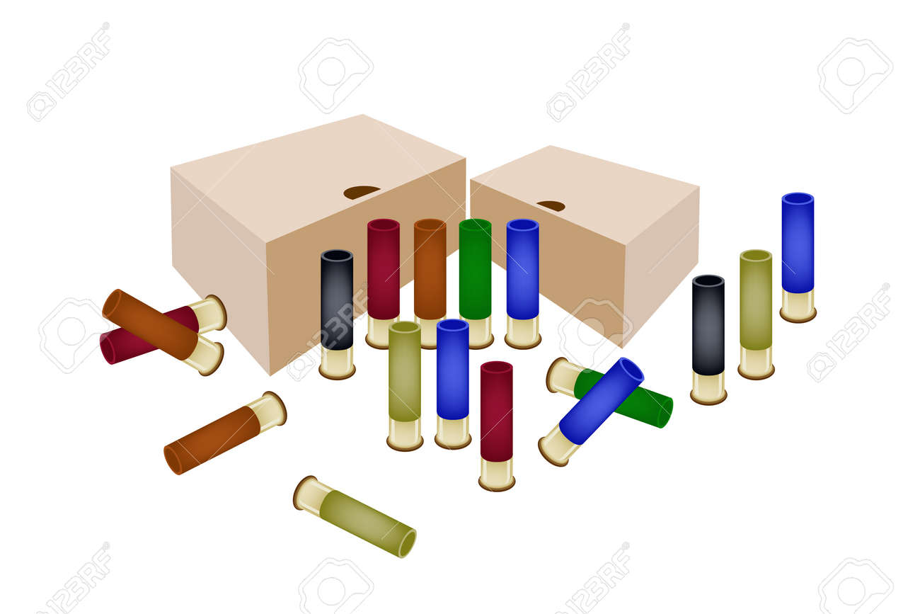 Gun Accessory, An Illustration of Storage Boxes and Shotgun Shells in Various Colors Isolated on White Background Stock Vector - 24873275
